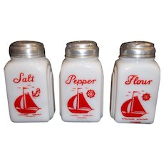 McKee Roman Arch Red Ships Sail Boats Large Range Shakers