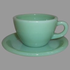 Fire King Jadeite G299 Restaurant Ware Coffee Mug & Saucer Set