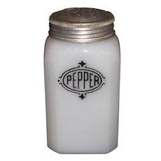 Hazel Atlas Black Shield Pepper Shaker