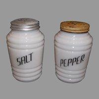 Hazel Atlas Round Ribbed Platonite Salt & Pepper Shaker Set