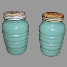 Fire King Jadeite Salt & Pepper Range Shaker Set