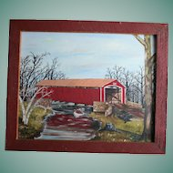1970's Conewago Creek Pennsylvania Oil Painting Red Covered Bridge Brushtown York