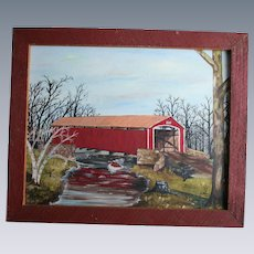 1970's Conewago Creek Pennsylvania Oil Painting Red Covered Bridge Brushtown York