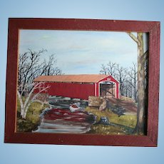 Conewago Creek Pennsylvania Oil Painting Red Covered Bridge Brushtown York