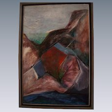 Southwest Rocky Landcape Large American Cubist Modernism Oil Painting on Masonite