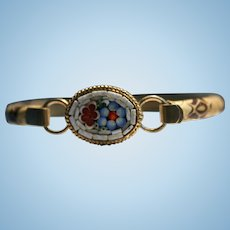 Gorgeous Micro Mosaic Tile & Lizard bangle bracelet Red Blue & White Floral Motif