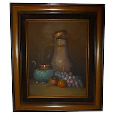Copper Pot Tea Kettle and Fruit Original Oil Painting by Frank Lean Still Life Signed Listed Artist