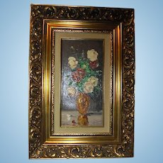 Beautiful Oil Painting by Constance Fronville Still Life Flowers in Vase Elaborate Carved Gold Gift Wood Frame Canadian Listed Artist