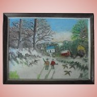 Vintage Folk Art Oil Painting Hunting American Original Mid-Century Original
