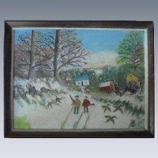 1940's Folk Art Oil Painting Hunting American Original Mid-Century Original