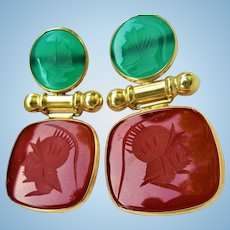 14K Gold Carnelian & Chrysoprase Intaglio Roman Soldier Dangling Pierced Earrings