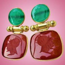 14K Gold Carnelian & Chrysoprase Intaglio Roman Soldier Dangling Pierced Earrings