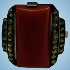 Art Deco Sterling Silver Oxblood Coral Marcasite Architectural Ring Size 7.25