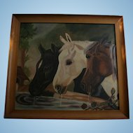 "Oil Painting Horses Equestrian After John F. Herring ""Three Members of the Temperance Society"" Horses at Trough"