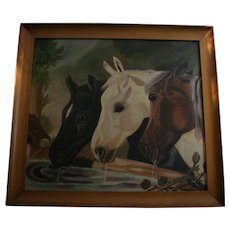 """Oil Painting Horses Equestrian After John F. Herring """"Three Members of the Temperance Society"""" Horses at Trough"""