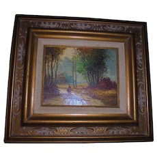 Barbizon Style Mid-Century Oil Painting Landscape with Figure Signed Balfour