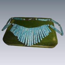 Vintage Sodalite Bib Necklace Genuine Stone