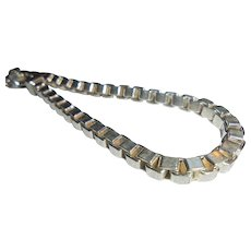 Vintage Milor Italy Sterling Silver Box Chain Link Bracelet