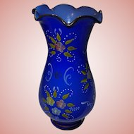 Vintage Opaline Cobalt Blue Glass Vase Raised Enamel Flowers Dots Ruffled