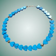 14K Gold Polished  Turquoise Heart Theme Bracelet 14K Gold Spacer Beads