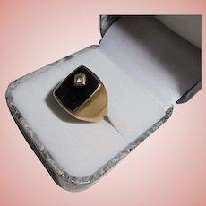 8K Gold Onyx & Diamond Signet Ring Size 8 Vintage Art Deco