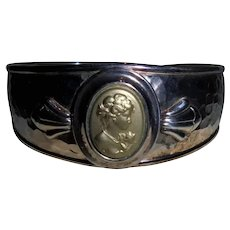 14K Gold & Sterling Silver Solid Cameo Cameo Relief Cuff Bracelet Italy
