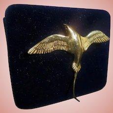 14K Gold Sculptural Flying Bird Seagull Pendant