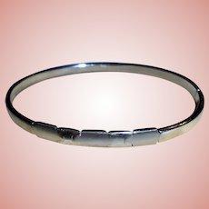 14K White Gold Geometric Face Clamper Cuff Bangle Bracelet Italy