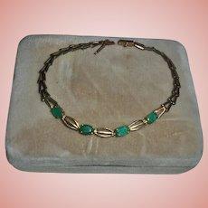 10K Gold Emerald Geometric Link Bracelet Vintage