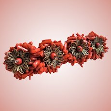 Miriam Haskell Frank Hess Spezzati Coral Unsigned Book Piece Brooch