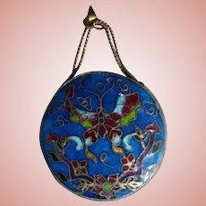 Antique Chinese Cloisonne Enamel Export Miniature Vase Pendant Silver