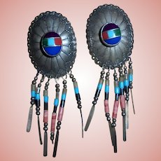 Navajo Concho Sterling Silver Inlaid Lapis Coral Carnelian Pierced Earrings