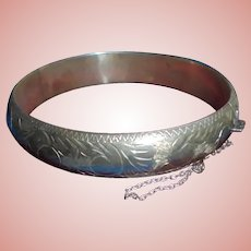 Sterling Silver Etched Clamper Cuff Bangle Bracelet with Safety Chain