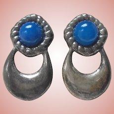 Vintage Sterling Silver Chalcedony Pierced Earrings Hoops