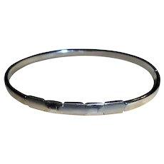 Italy 14K White Gold Geometric Clamper Cuff Bangle Bracelet