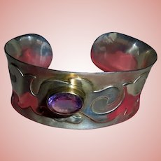 High-End Sterling Silver Amethyst Mid-Century Modernist Raised Relief Cuff Bracelet