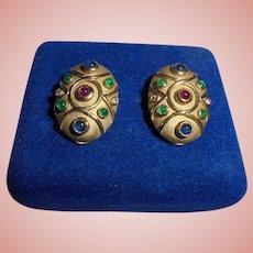 14K Gold Moghul Diamond Ruby Emerald Sapphires Etruscan Revival Omega Clip Earrings