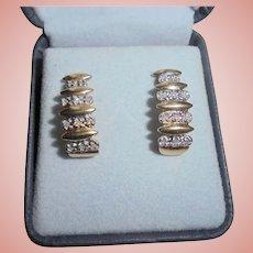 14K Gold Diamond Pierced Earrings Two-tone Yellow Gold & White Gold