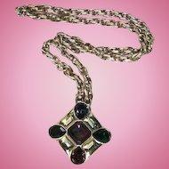 Ciner Maltese Cross Statement Pendant Gold-Plated Runway Pendant Necklace