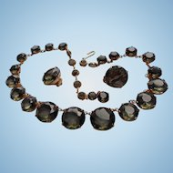 Smoky Topaz Faceted Glass Bezel Set Graduated Bead Necklace & Earrings Set