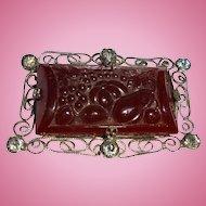 Harvest Theme Czech Molded Art Glass Figural Rhinestone Brooch Art Deco Autumn Fall Pumpkin Squash