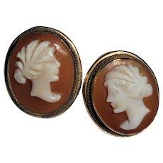 Unusual 14K Gold Romantic Couple Shell Cameo Pierced Earrings Vintage