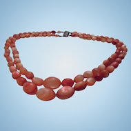 Beautiful Coral Dyed Mother-of-Pearl  Necklace Sterling Silver Clasp