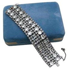 High End Runway Rhodium Plated Rhinestone Baguette 6 Row Bracelet