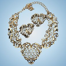Hearts! Jose Marie Barrera Couture Rhinestone Bib Necklace Earrings Set