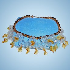 Rare 1930s Brown Peking Glass Clear Bauble Festoon Necklace Golden Amber Colors