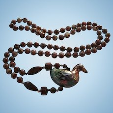 Cloisonne & Jasper Figural Bird Pendant Necklace