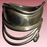 Signed Janina Denmark Sterling Silver Modernist Ring Sz 8.75