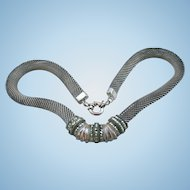 Judith Jack Exquisite Chunky 925 Sterling Silver Cable Mesh Necklace with Marcasite Stones