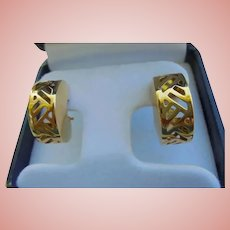 Rare 14K Gold Waterford Statement Omega Back Pierced Earrings Chunky Ornate Half Hoops